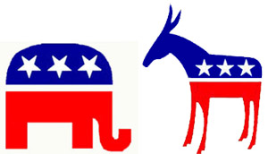 Republican and Democratic Party Symbols